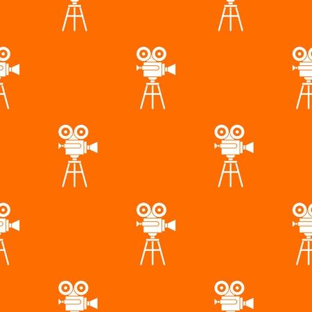Retro film projector pattern repeat seamless in orange color for any design. Vector geometric illustration