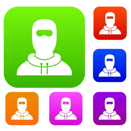 Man in balaclava set icon in different colors isolated vector illustration. Premium collection Illustration