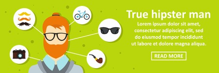 True hipster man banner horizontal concept. Flat illustration of true hipster man banner horizontal vector concept for web