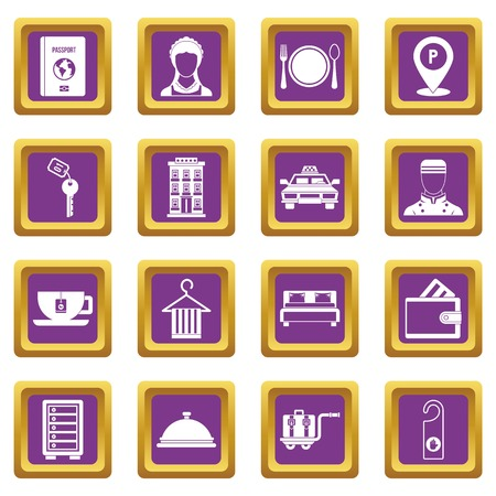 Hotel icons set in purple color isolated vector illustration for web and any design 向量圖像