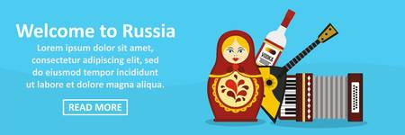 matryoshka: Welcome to russia banner horizontal concept. Flat illustration of welcome to russia banner horizontal vector concept for web Illustration
