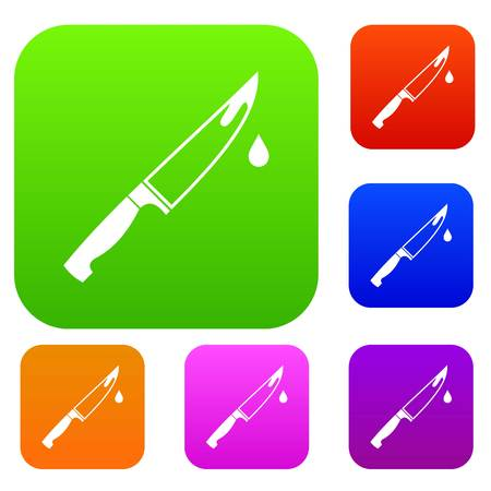 Steel knife set icon in different colors isolated vector illustration. Premium collection