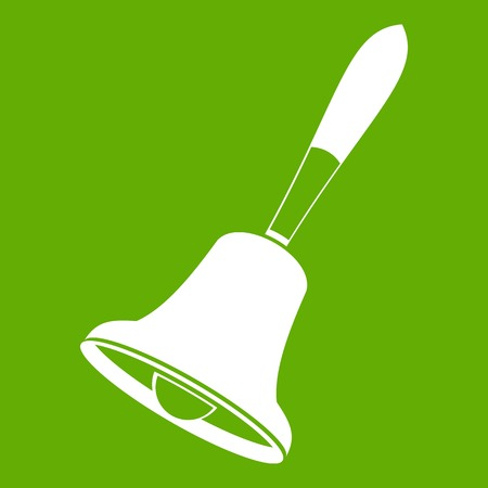 Bell icon white isolated on green background. Vector illustration