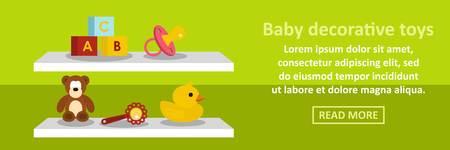 Baby decorative toys banner horizontal concept. Flat illustration of baby decorative toys banner horizontal vector concept for web Illustration