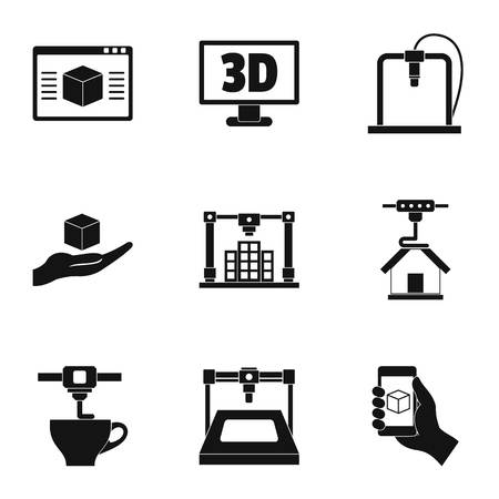 3d printer innovation icon set. Simple set of 9 3d printer innovation vector icons for web isolated on white background