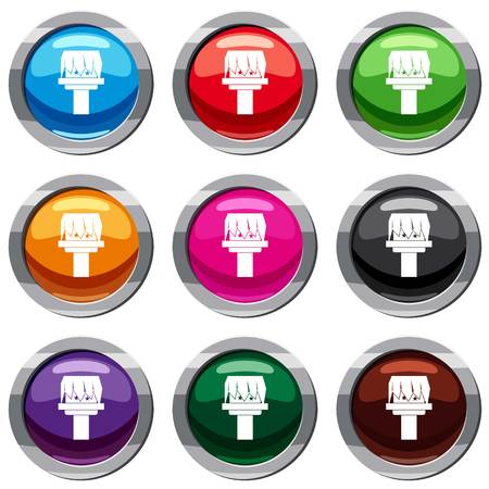 Box magic set icon isolated on white. 9 icon collection vector illustration