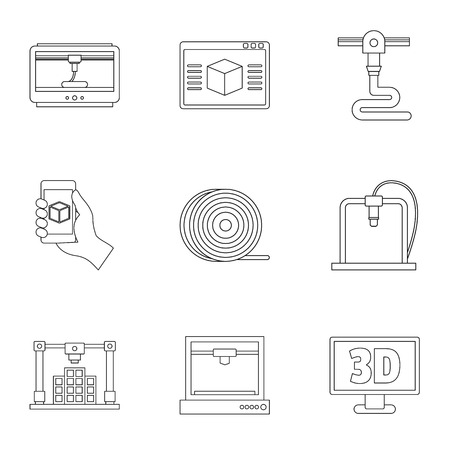 Set of 3d printer innovation icon in outline style.