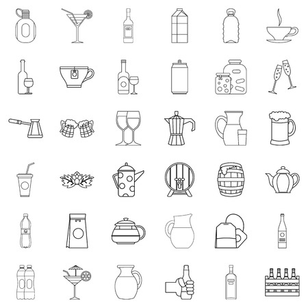 Set of beverage icons in outline style