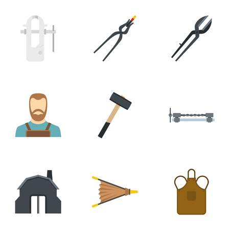 Blacksmith tools set, flat style Ilustração