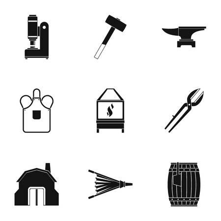 Blacksmith equipment icon set, simple style