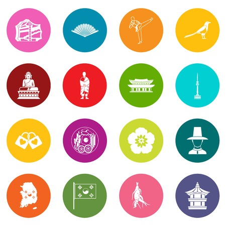 South Korea icons, many colors set Illustration