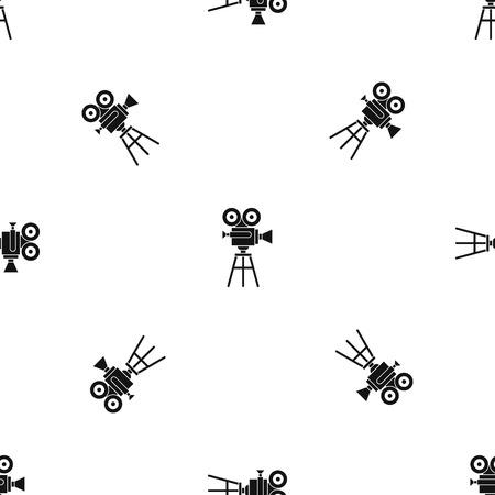 Retro film projector pattern, black Çizim