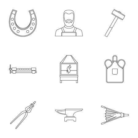 Smid fireplace icon set, Kaderstijl Stock Illustratie