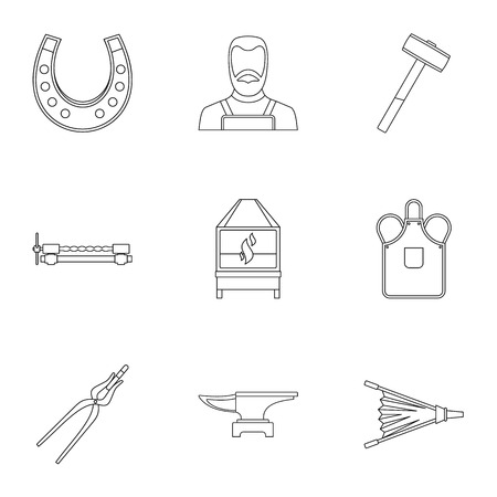 Blacksmith fireplace icon set, outline style