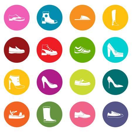 Footwear icons set Illustration