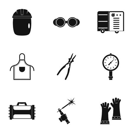 Welder construction icon set, simple style