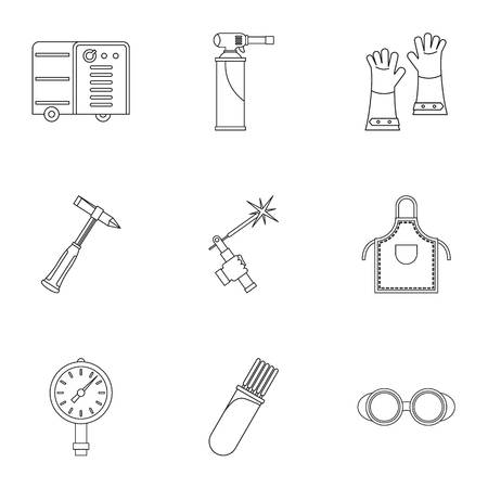 Welder equipment icon set, outline style