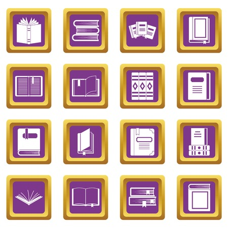Books icons set purple