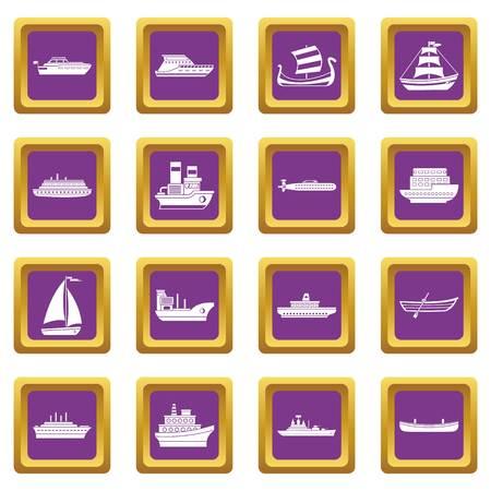Sea transport icons set purple Illustration