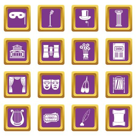 Theater icons set purple
