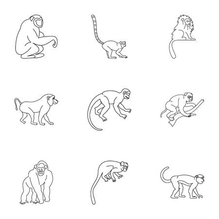 Wild monkey icon set, outline style