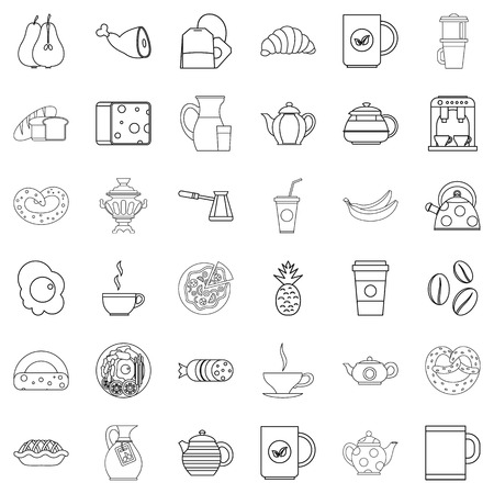hot dog: Breakfast icons set, outline style