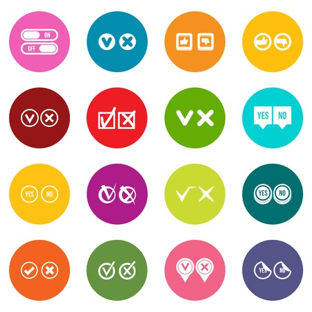 Check mark icons many colors set
