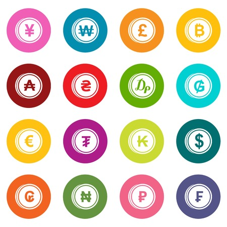 Currency From Different Countries Icons Set In Purple Color Isolated