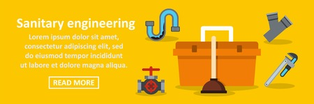 Sanitary engineering banner horizontal concept Illustration