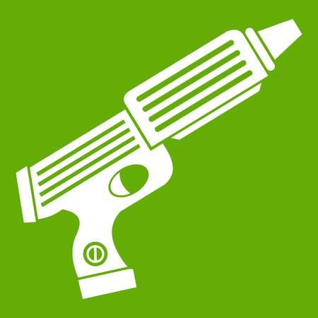 Plastic gun toy icon green Illustration