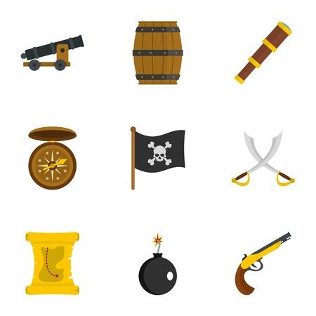 Pirates armor icon set, flat style