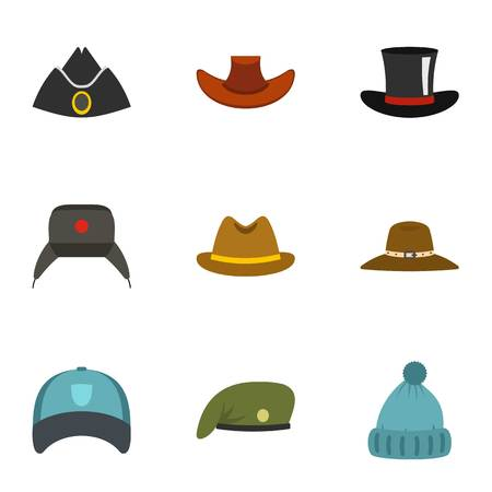 Traditional hat icon set, flat style