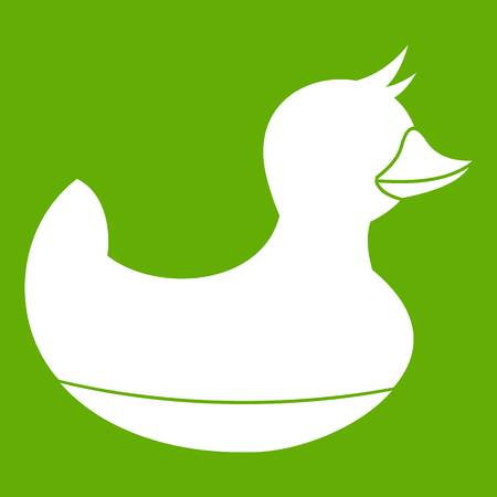 White duck on the green background