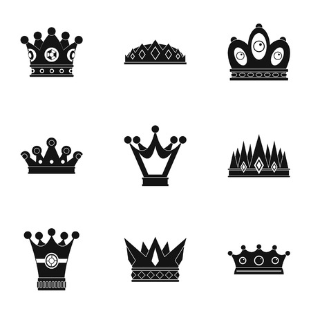 Luxury crown icon set, simple style Vector illustration.