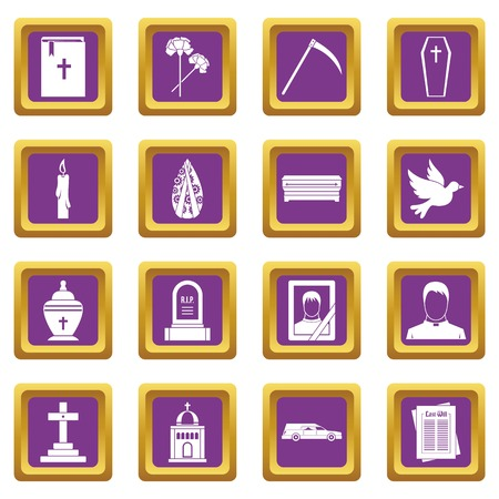 obituary: Funeral icons set purple Vector illustration. Illustration