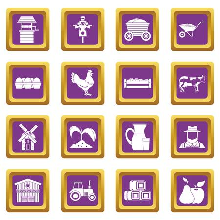 Farm icons set in purple color isolated vector illustration for web and any design
