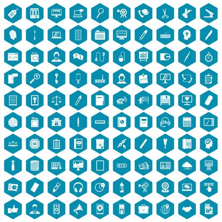 office stapler: 100 office work icons set in sapphirine hexagon isolated vector illustration