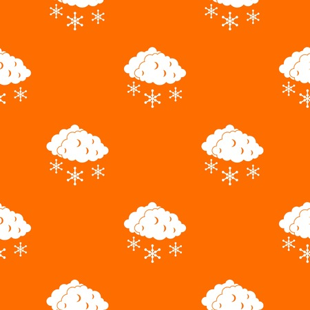 sleet: Clouds and snow pattern repeat seamless in orange color for any design. Vector geometric illustration Illustration