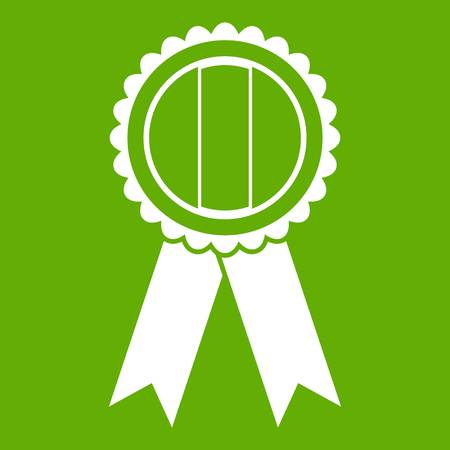 Rosette icon white isolated on green background.
