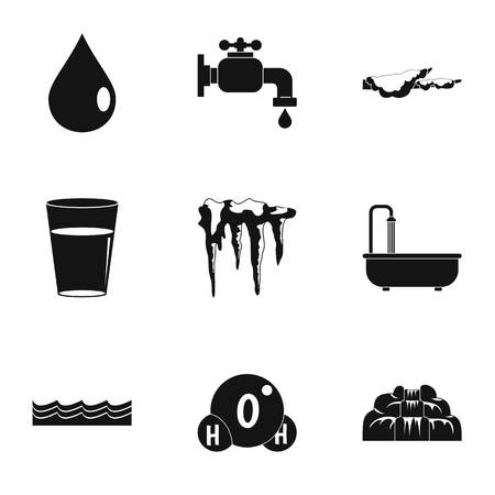 ocean waves: Season water icon set. Simple set of 9 season water vector icons for web isolated on white background