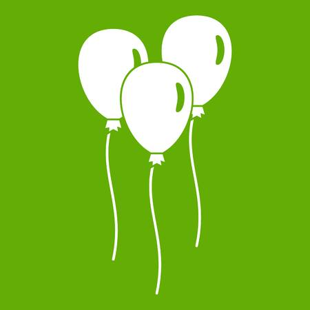 Balloons icon white isolated on green background. Vector illustration