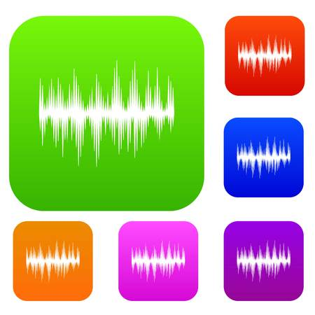 Audio digital equalizer technology set icon in different colors isolated vector illustration. Premium collection Illustration