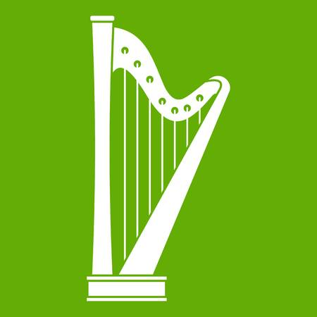 Harp icon white isolated on green background vector illustration