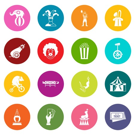 Circus entertainment icons in different colors set isolated on white for digital marketing