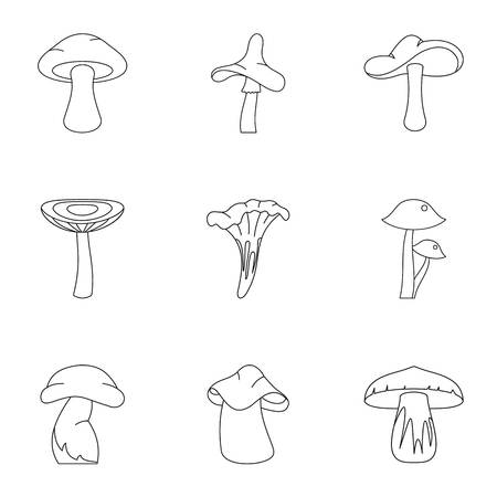 morel: Outline set of 9 collection of mushroom vector icons for web isolated on white background