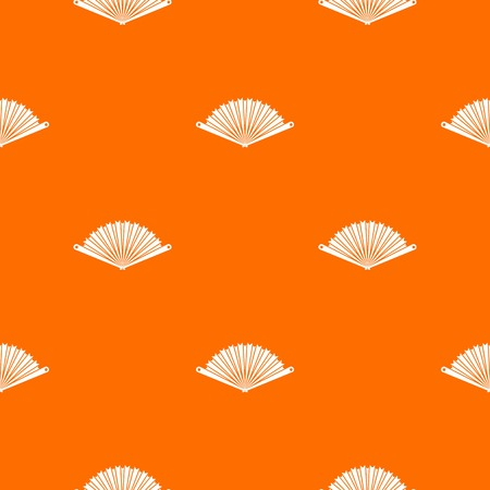 Opened oriental fan pattern repeat seamless in orange color for any design. Vector geometric illustration