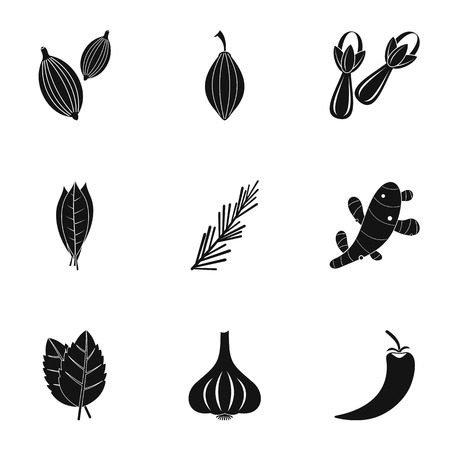 Eco spices and herb icon set. Simple set of 9 eco spices and herb vector icons for web isolated on white background Illustration