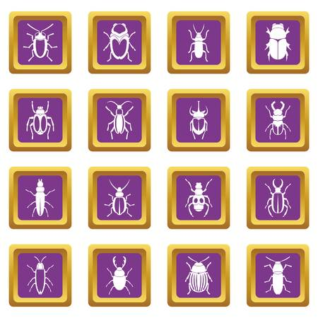 ladybird: Bugs icons set in purple color isolated vector illustration for web and any design Illustration