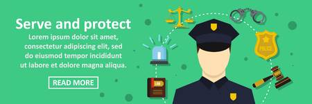 Serve and protect banner horizontal concept. Flat illustration of serve and protect banner horizontal vector concept for web