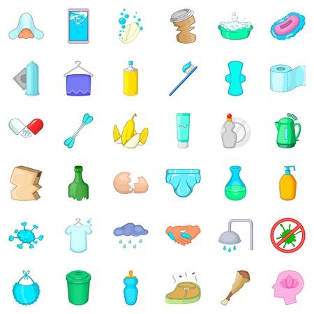 Iconos de limpieza conjunto, estilo de dibujos animados